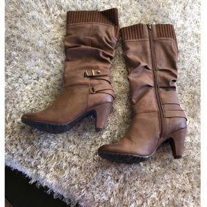 Aldo Brown Sweater Cuff Top Heeled Boots Size 7